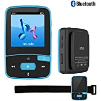 DeeFec Mini Sport Clip Bluetooth MP3 Player 8GB for Running with Clip FM Radio Voice Recorder Lossless Sound Portable Music Player-Expandable Micro SD Card to 64GB + Free Sport Armband (Blue)