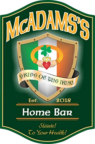 Claddagh Irish Pub - Pride of the Irish Pub Sign with Your Custom Name & Claddagh Ring Design - St Patrick's Day Gift Irish Wall Art