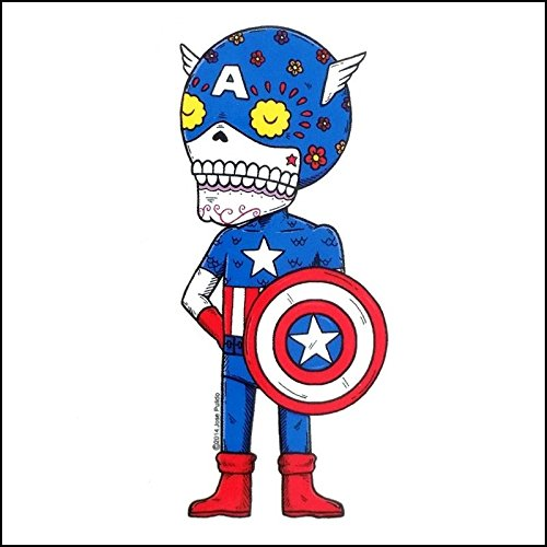 Weather Proof Decal Captain America Avengers Inspired Calavera Die Cut Clear Vinyl Sticker Sugar Skull Day of the Dead