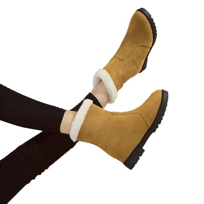 Botas de Nieve de Mujer de Peluche, Zapatos de Invierno de Mujer Botas
