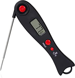 Meat Thermometer Instant Read, Waterproof Digital Food Thermometer with Backlight and Magnet for Cooking Kitchen Grilling and BBQ (Black)