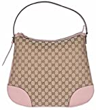 Gucci Women's Large Canvas Leather Bree Hobo Purse (Beige/Pink)