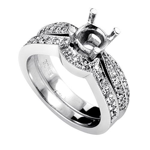Gold Diamond Mounting (Luxury Bazaar Women's 14K White Gold Diamond Bridal Mounting Set SM4-061764W)