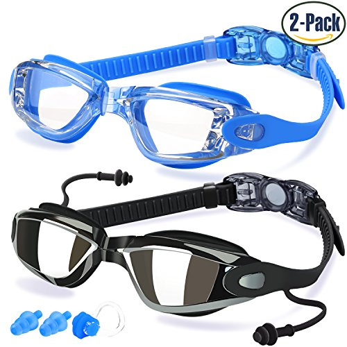 Swim Goggles, Pack of 2, Swimming Glasses for Adult Men Women Youth Kids Child, with Anti-Fog, Waterproof, UV 400 Protection Lenses, Made by - Square Covered Buckle