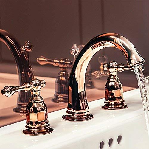 JingJingnet 洗面器の蛇口タップ浴室のシンクの蛇口すべて銅カイの8インチ3穴盆地のミキサーコンソール盆地ORB黒起毛ホットとコールド蛇口アンティークノルディックスタイル (Color : 3) B07SLS2RGY 3