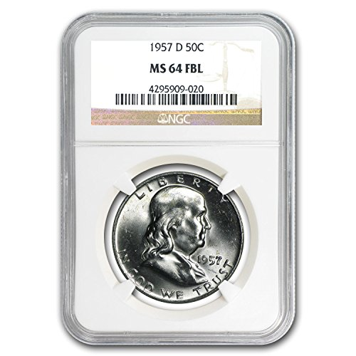 1957 D -D Franklin Half Dollar MS-64 NGC (FBL) Half Dollar MS-64 NGC