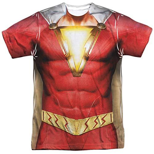 Shazam Movie Shazam Uniform Unisex Adult Sublimated T Shirt for Men and Women, X-Large White