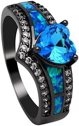 Mystic Blue CZ Black Plated Lab Created Opal Ring - Ginger Lyne Collection