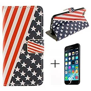 QHY Personality Flag Pattern PU Leather with Screen Protector Cover for iPhone 6