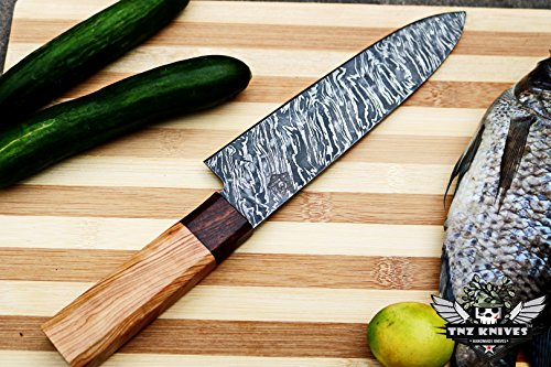 TNZ-1183 USA Damascus Chef Knife 12.25″ Long 7.5″Blade