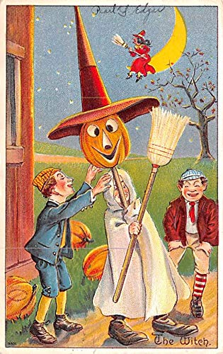 Halloween Post Card Old Vintage Antique, Witch Halloween Series Number 980 1910 ()