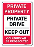 Private Property Keep Out Violators will be prosecuted Sign, Federal 10''x14'' Aluminum, For Indoor or Outdoor Use - By SIGO SIGNS