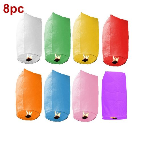 8pc Assorted Color Cylinder Sky Fire Chinese Wish Lanterns Flying Paper For Wedding Christmas Party, Outdoor Stuffs