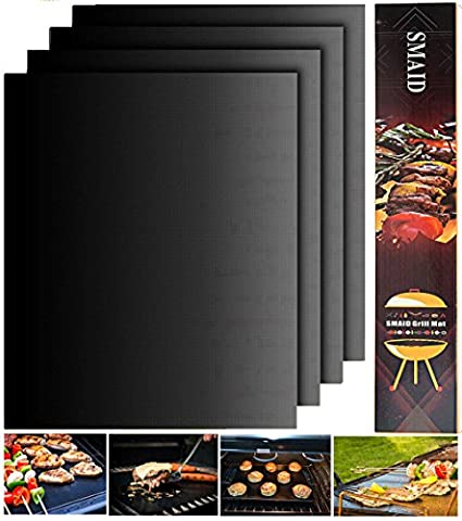 Smaid - Grill Mat Set of 4 - 100% Non-stick BBQ Grill Mats - FDA-Approved, PFOA Free, Reusable and Easy to Clean - Works on Gas , Charcoal , Electric Grill and More - 15.75 x 13 (Brinkmann Smoker Pan)