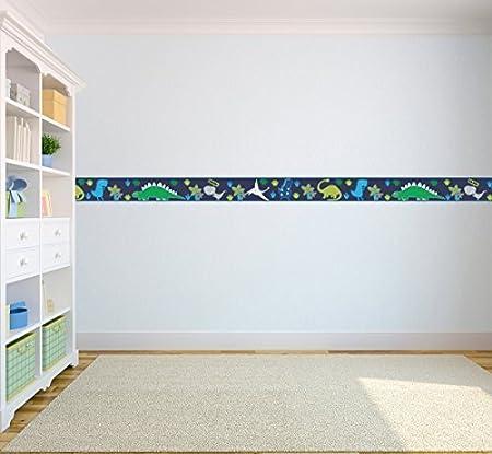 e161ab31231b Children's Colourful Self Adhesive 5 Metre Long Vinyl Wallpaper Border  Bedroom Décor - Dino in the Dark: Amazon.co.uk: Kitchen & Home