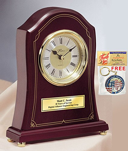 Personalized Elegant Rosewood Mantle Designer Clock With Gold Engraving Plate This Engraved Award Can