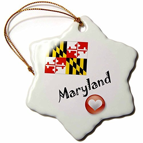 Ornaments to Paint 7188_1 I Love Maryland Snowflake Porcelain Hanging Ornament, 3-Inch -