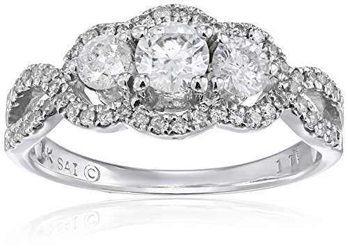 14k White Gold Diamond Three Stones Engagement Ring (1carat, H-I Color, I2-I3 Clarity), Size 7