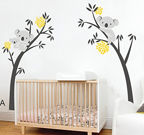 "Yanqiao 79.9x96.5"" Very Big Children Room Cartoon Lovely Three Koalas Family Tree Wall Decals Removable Wall Stickers Home Decoration"