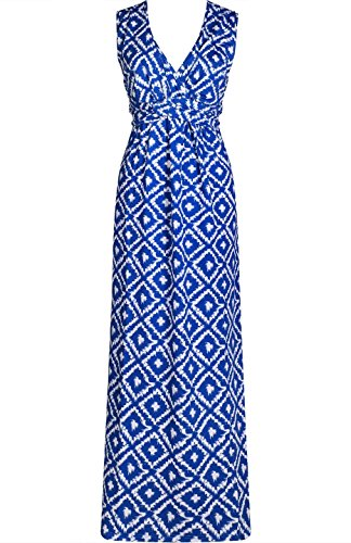 2LUV Women's V-Neck Empire Waist Geo Printed Maxi Resort Summer Dress Blue M