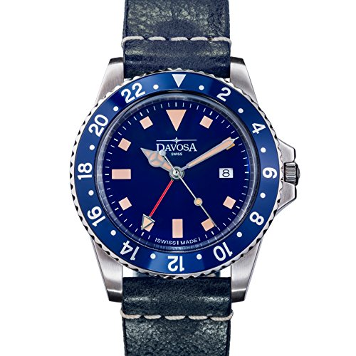 Davosa Swiss Made Quartz Quality Watch - Luxury GMT Dual Time Analog Dial Vintage Fashion Watch with Genuine Leather Wrist Band (16250045)