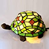Bieye Tiffany Style Stained Glass Turtle Accent Table Lamp - Suitable for Decorating Room (Green Flower)