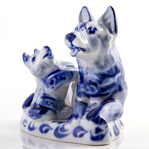 (Porcelain Figurine Shepherd with a Puppy. Blue&White Porcelain. Gzhel. Symbol of the Year 2018)