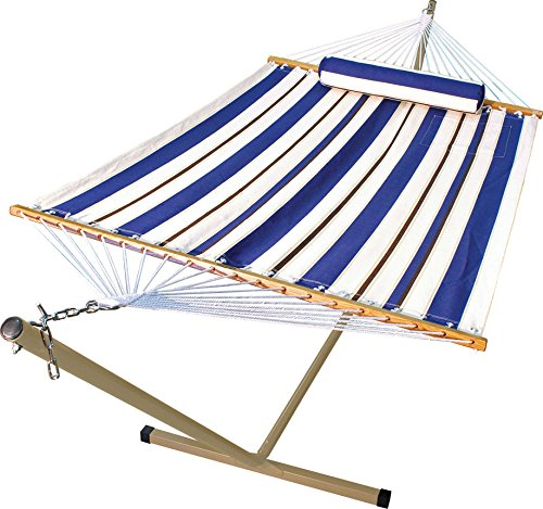 Algoma 11 foot Fabric Hammock Pillow and Stand Combination Blue / White - Plated Bolster