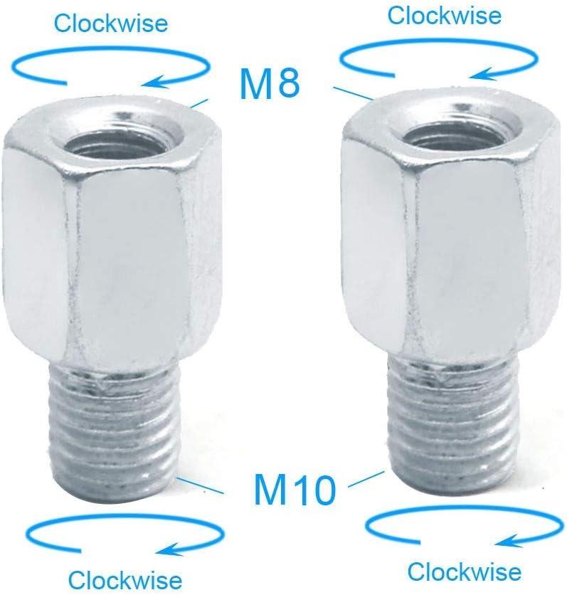 Paire Scooter Moto Adaptateurs R/étroviseur M10 10MM M8 8MM 6MM Clockwise Sens Anti-horaire Droite Gauche Fil Main Changement vis NO LOGO SHIYM-MTC Couleur : 2X M8 M10 R R