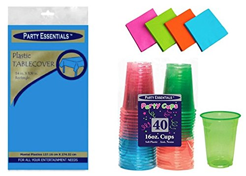 Table Cover, Assorted Neon Brights 16 oz Party Cups, and Beverage Napkins by Party Essentials; Bundled by Oasis Mercantile (x1, Neon (Neon Table Covers)