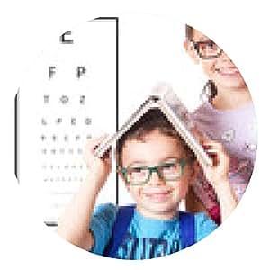 alfombrilla de ratón Los niños con gafas y una mesa para el control de la vista - ronda - 20cm