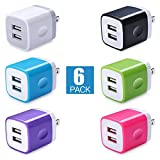 Power Adapter, iHoto 2.1A Universal Home Travel Dual USB Wall Charger Adapter Block Cube for iPhone X/8/7/6S/6 plus, Samsung Galaxy S8/S7 S6, Note4/5, iPad, Android, HTC, Google, Nokia-6Pack