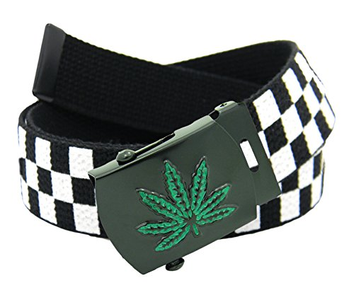 Build A Belt/® Weed Leaf Mens Belt Buckle with Canvas Web Belt