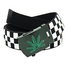 Men's Black Weed Leaf Military Slider Belt Buckle with Canvas Web Belt