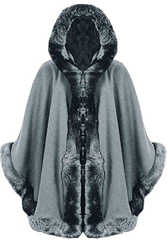 GirlzWalk Women Italian Lagenlook Shawl Cardigan Quirky Layering Trim Hooded Faux Fur Wool Lana Cape Poncho (Silver, One Size -