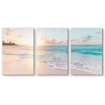 SIGNFORD 3 Piece Canvas Wall Art for Living Room Bedroom Home Artwork  Paintings Romantic Beach Ready to Hang - 16\