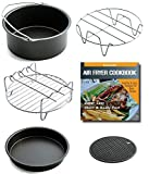 Appliances : Air Fryer Accessories For Gowise Philips And Cozyna, Fits All 3.7QT - 5.8QT, Non-stick Barrel / Pan + Metal Holder + Multi-Purpose Rack with Skewers and Silicone Mat, Cookbook Included