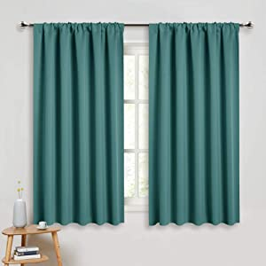 PONY DANCE Blackout Curtains for Bedroom - Window Treatments Rod Pocket Energy Efficient Curtain Panels Room Darkening Home Decor for Kids'Room, 52-inch Wide by 45 Long, Sea Teal, 2 PCs