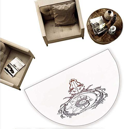 Sun Semicircle Doormat Tattoo Style Animal Skull with