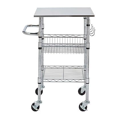 Amazon.com - StyleWell Gatefield Chrome Small Kitchen Cart ...