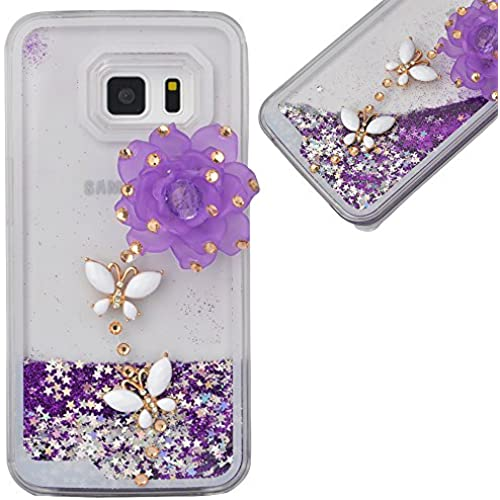 Spritech(TM) Hard Clear Phone Case For Samsung Galaxy S7,3D Handnade Crystal Purple Flower White Butterfly Glittery Sales