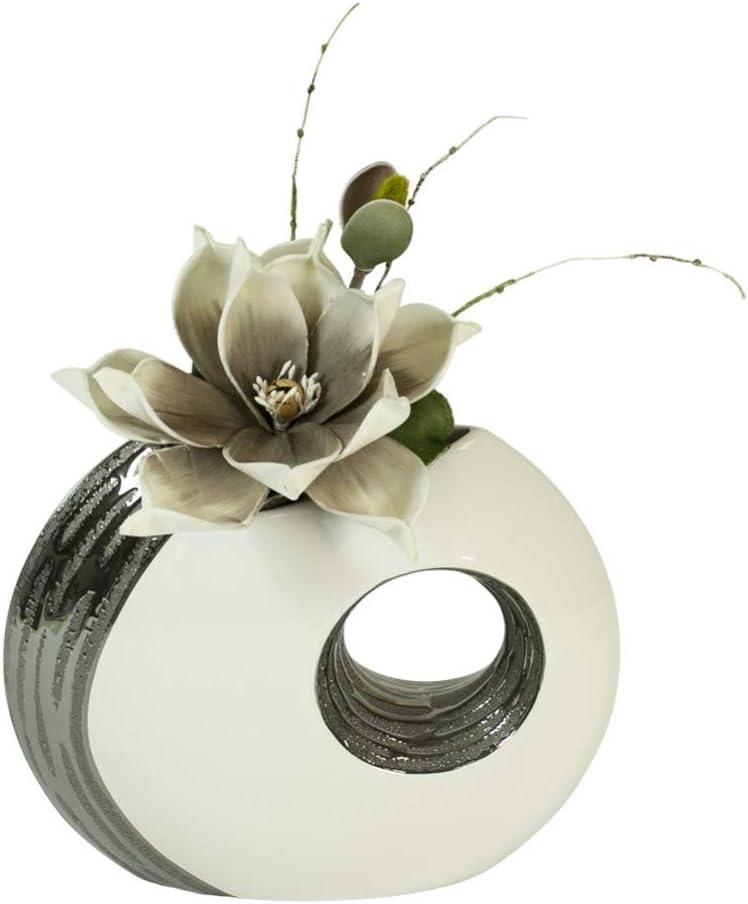 Formano Vase d/écoratif avec trou et fleur de magnolia 31 cm Blanc//argent/é//gris//blanc Hauteur