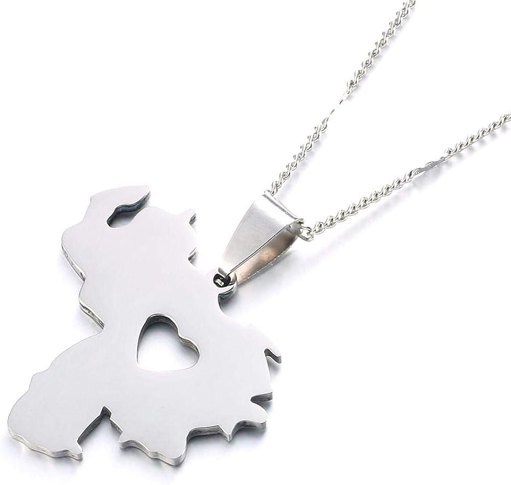 SWAOOS Stainless Steel Venezuela Map Pendant Necklace Venezuelan Map Heart Jewelry