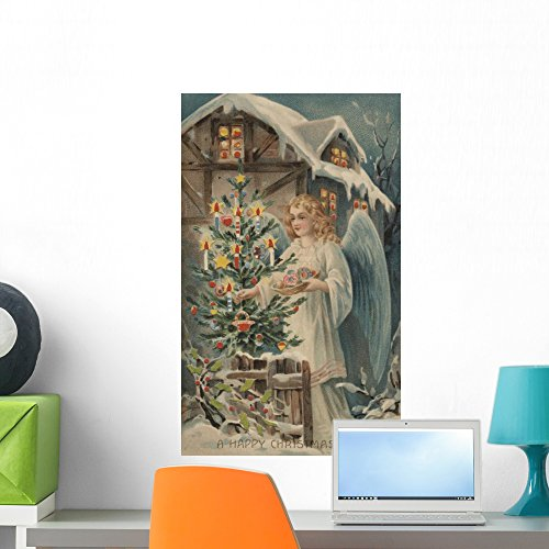 Wallmonkeys WM76665 A Merry Postcard with Angel and Christmas Tree Peel and Stick Wall Decals (24 in H x 15 in W), Medium (Postcard Christmas Angel)