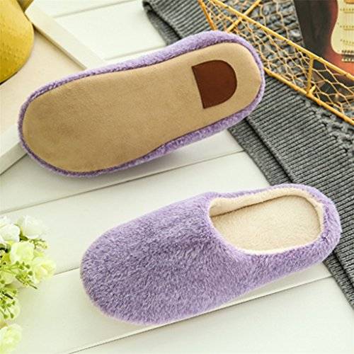 Bangle009 Unisex Autumn Winter Warm Soft Indoor Non-Silp Pure Color Slippers Purple x0r00mC