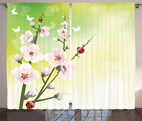 Ladybugs Decorations Curtains Ambesonne Blooming