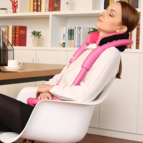 UsEasy Bendable Neck Supporter,Ergonomic Design O-Shape Pillow with Memory Foam-Travel Pillow for Airplane,Car,Office Napping and Home Relaxing (Pink)