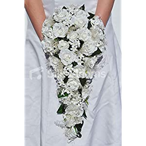 Silk Blooms Ltd Artificial Fresh Touch White Rose Bridal Cascade Bouquet w/Stephanotis and Preserved Gypsophila 93