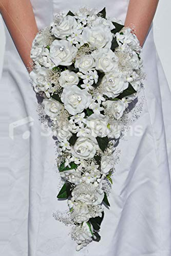 Silk Blooms Ltd Artificial Fresh Touch White Rose Bridal Cascade Bouquet w/Stephanotis and Preserved Gypsophila