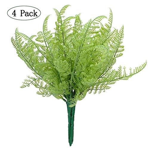Felice Arts 4 Bundles Artificial Plants Boston Ferns Bush Faux Grass Fake Plastic Shrubs Leaves Fake Shrubs Plant Arrangements Simulation Greenery Bushes Indoor Outside Home Garden Office Verandah